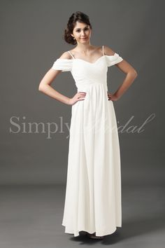 Silhouette: A-Line Neckline: Sweetheart Train: No Train Fabric: Chiffon Back Closure: Back Zipper Body Shape: Hourglass, Pear, Inverted Triangle, Tall, Plus Size, Petite, Apple Sleeves: Off-The-Shoulder Season: Spring, Summer, Fall, Winter Venue: Outdoor, Banquet, Church/Temple, Destination, Garden, Beach