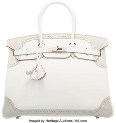 90afa2faf37b Hermes 35cm White & Gris Perle Swift Leather Ghillies BirkinBag with  Palladium Hardware. P Square