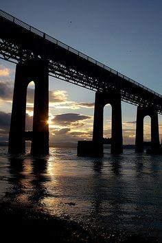The Tay Rail Bridge at sunset, Dundee