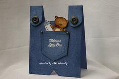 baby boy beary pocket blue jean overalls card by Nikki Schmaltz