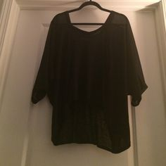 Plus size women's top Black plus size women's top with sheer accent down shoulder and sleeve Lane Bryant Tops