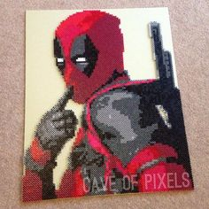 Deadpool perler bead art by caveofpixels