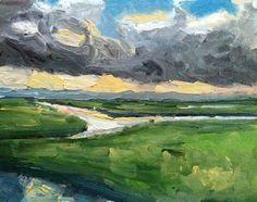 Dutch Landscape Heavy Sky Sunset oil painting by NancyvandenBoom, €180.00