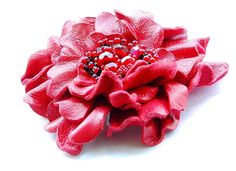 Red leather brooch