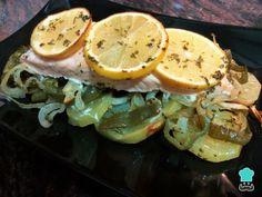 Receta de Salmón al horno con limón y vino blanco - Fácil