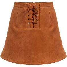 SheIn(sheinside) Brown Bandage Flare Skirt ($15) ❤ liked on Polyvore featuring skirts, sheinside, brown, flared skirt, mini skirt, brown mini skirt, circle skirt and brown skater skirt