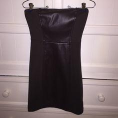 Guess form fitting strapless brown leather dress Brown dress w/ brown (faux) leather strip down middle in front and back - great dress! Form fitting, but does stretch. Guess Dresses Strapless