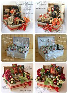 (1) Gallery.ru / Фото #8 - Подарочный набор в коробе - Ryazanochka-II Fruit Birthday, Gift Baskets For Women, Christmas Crafts, Christmas Decorations, Gift Wraping, Cake Craft, Chocolate Bouquet, Edible Gifts, How To Preserve Flowers