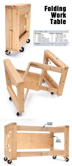 Space Saving Folding Work Table www.popularwoodwo... #WoodworkingTools #woodworkingbench #WoodworkingPlansWorkbench