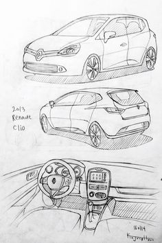 Car drawing 160113. 2013 Renault Clio. Prisma on paper.  Kim.J.H