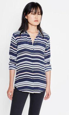 4e221f06827592 Equipment Essential Silk Button Down Stripe Shirt  equipment  silkshirt  Blue Stripes