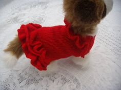 Dog clothes dog sweater ,apparel, chihuahua handknitted red frilled sweater / jumper red dress Frills around the neck and hem line so cute.
