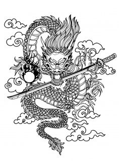 Tattoo Art Dargon Hand Drawing And Sketch Black And White - Tattoo art dargon hand drawing and sketch black and white Premium Vector Dragon Tattoo Drawing, Asian Dragon Tattoo, Japanese Dragon Tattoos, Japanese Tattoo Art, Chinese Dragon Drawing, Dragon Sleeve Tattoos, Tattoo Sketches, Tattoo Drawings, Art Sketches
