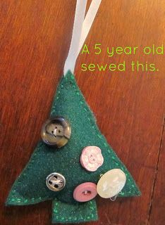 "Felt tree with button ""ornaments""."