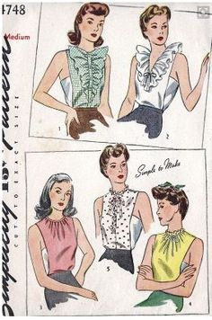 Misses Dickey Vintage Sewing Pattern Simplicity 4748 Bust 34 to 36 Uncut… Vintage Dress Patterns, Clothing Patterns, Vintage Dresses, Vintage Outfits, Blouse Vintage, 1940s Fashion, Vintage Fashion, Victorian Fashion, Fashion Fashion