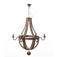 Lars Chandelier - The Lars Chandelier is a contemporary and rustic take on a traditional metal chandelier. Accented with a rustic bent-wood frame that curves around to create a semi-spherical tear drop. The central ring holds the candle-like lights in a circle around the chandelier with a classically elegant look.