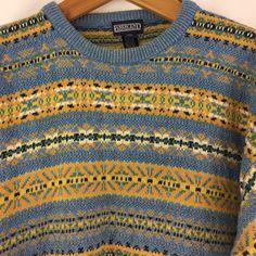 Lands End Mens Sweater Size Large 100% Cotton Multicolor Striped Blue Yellow #LandsEnd #Crewneck