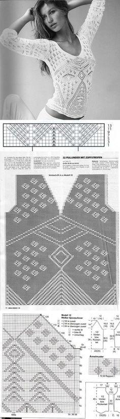 knitting pattern blouse ...♥ Deniz ♥