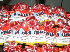 Orbit Gum...because you're out of this world! Football Team Gifts, Cheer Team Gifts, Dance Team Gifts, Cheer Coaches, Cheer Mom, Cheerleading Locker Decorations, Cheerleading Snacks, Volleyball Team, Soccer