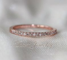 Thin Design 14k Rose Gold Wedding Ring Pave 0.17ct SI/H Diamond  Engagement Ring/ Matching Band/ Full Eternity Band on Etsy, $240.00