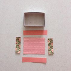 Measure and trim various pattern papers for the insides of the matchbox drawer... I've chosen 3 different pattern papers for this...
