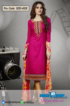 We Unfurl Our The Intricacy And Exclusivity Of Our Creations Highlighted With This Attractive Pink Cotton Salwar Kameez. Beautified With Block Print Work All Synchronized Effectively With The Design And Style And Design Of The Dress. Paired With A Contrast Beige Cotton Bottom Comes With A Contrast Beige Chiffon Dupatta  Visit: http://surateshop.com/product-details.php?cid=2_27_70&pid=7214&mid=0