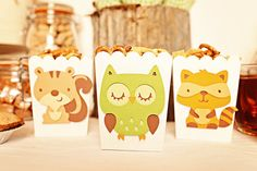 Forest Friends Snack Boxes filled with chex mix (by Pinwheel Lane on etsy)