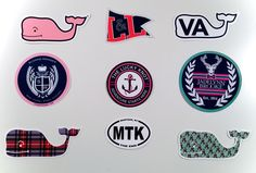 Some of my favorite stickers! ~ use code meghan at theluckyknot.com for 15% off ~ #luckyknot #crewrep #preppy #prep #summer #virginia #whale #edsftg #vv #lemonandline #sloaneranger #jadelynnbrooke #montauk #beach #plaid #stickers @theluckyknot