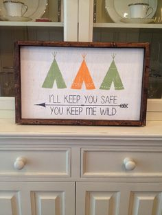 Wood panel wall art 13x21in Wild Safe Tee Pee Tribal framed on Etsy, $40.00