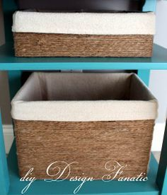 "Make ""Baskets"" Out of Cardboard Boxes! All you need is twine, glue, and some drop cloth for the lining."