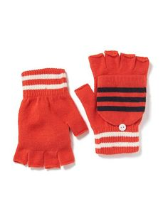 Patterned Convertible Mittens These adorable orange, are trendy, and warm. They are on sale at old navy for $2.00 was $6.94. So grab them while they are available!! :)