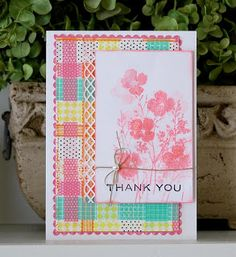 handmade card  ... Moxie Fab World: The Get Daring with Decorative Tape Challenge Winners ... washi tape panel made of woven tape strips .... gorgeous effect using the translucent quality of the washi tape  ... luv this card!!