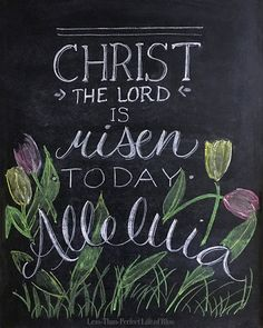Christ the Lord is Risen Free Easter Chalkboard Printable
