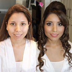 #MakeoverMondays are so beautiful with our bride Samantha looking absolutely perfect #beforeandafter  #makeovermagic #makeupandhair by Jazmin and Christopher of #kayanabeauty #kayanabeautytrends