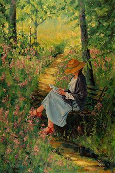 Woman reading in garden by Jon Uban...
