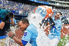 Early ice bath:    Terrance Gore of the Kansas City Royals gets showered with water by teammate Salvador Perez after scoring the winning run on a wild pitch during the 10th inning against the Minnesota Twins at Kauffman Stadium in Kansas City, Mo., on April 10.    -         © John Sleezer/Kansas City Star/TNS via Getty Images