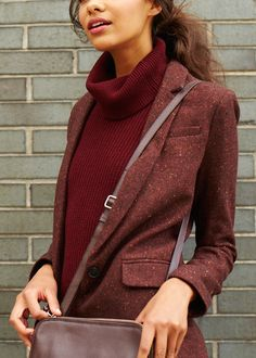 First Day of Fall | Mixing various shades and textures of burgundy by layering a one-button blazer over a turtleneck