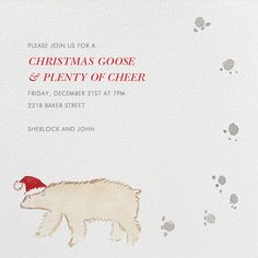 Bear Tracks by Virginia Johnson for Paperless Post. Send custom online holiday party invitations with our easy-to-use design tools and RSVP tracking. View more holiday invitations on paperlesspost.com. #bear #polar_bear #santa #paw_prints #santa_hat