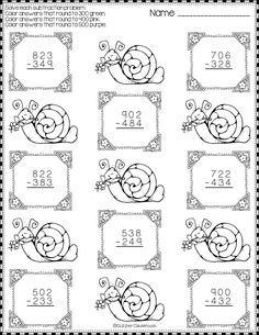 Spring Subtraction with Regrouping Color-by-Code Printables Math Practice Worksheets, Math Activities, Teacher Resources, Dj Inkers, Math Practices, Math Numbers, Math Stations, Addition And Subtraction, Elementary Math