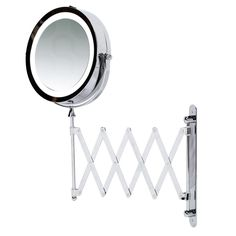 """Kenley 7"""" Bathroom Extending Wall Mounted Magnifying Make Up Mirror w/ LED Light"""