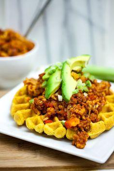 Cheesy Cornbread Waffles with Cauliflower Lentil Sloppy Joes  |  Keepin' It Kind