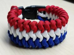 Red white and blue Snake knot paracord bracelet