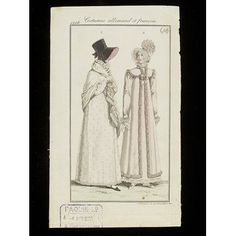 Costumes Allemands et Francois (Fashion plate) | V&A Search the Collections. 1816. On the left, a spotted pelisse robe with shawl and a black silk bonnet with pink lining and bindings. On the right, a pale pink pelisse trimmed with pleated fabric and a frilly bonnet trimmed with pink.