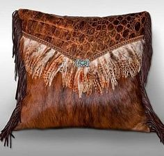 Western Cowhide Pillow with Feathers