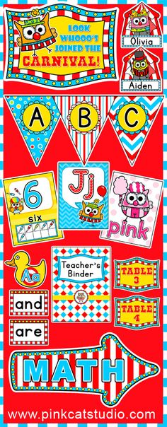 Carnival Owls Classroom Theme Pack - Create a fun carnival or circus themed classroom with over 300 pages of printables! This pack includes alphabet posters, binder covers, bunting, a calendar set, centers signs, a Ferris Wheel clock, colors posters, hall passes, job labels, name tags, bin labels, nameplates, note cards, numbers posters, table signs and two word wall sets. By Pink Cat Studio
