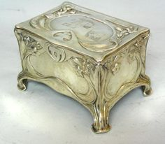 Art Nouveau Silver Jewelry Box Casket by Bruckmann & Sohne Heilbronn  from pasarel on Ruby Lane