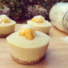 MANGO COCONUT CHEESECAKES Recipe by Nicola Connor Ingredients Base: 2 dates 1/2 cup oats 1/4 cup nuts 1/4 cup shredded coconut, 1-2 tbsp water, pinch of himalayan salt. Filling: 1…