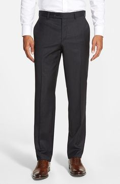 Ted Baker London 'Jefferson' Flat Front Solid Wool Trousers