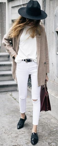 #fall #street #style | Beige + Black and White