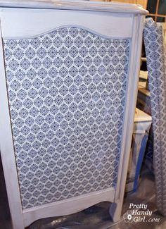 Decoupaging the Dresser Panel with Wrapping Paper - Pretty Handy Girl